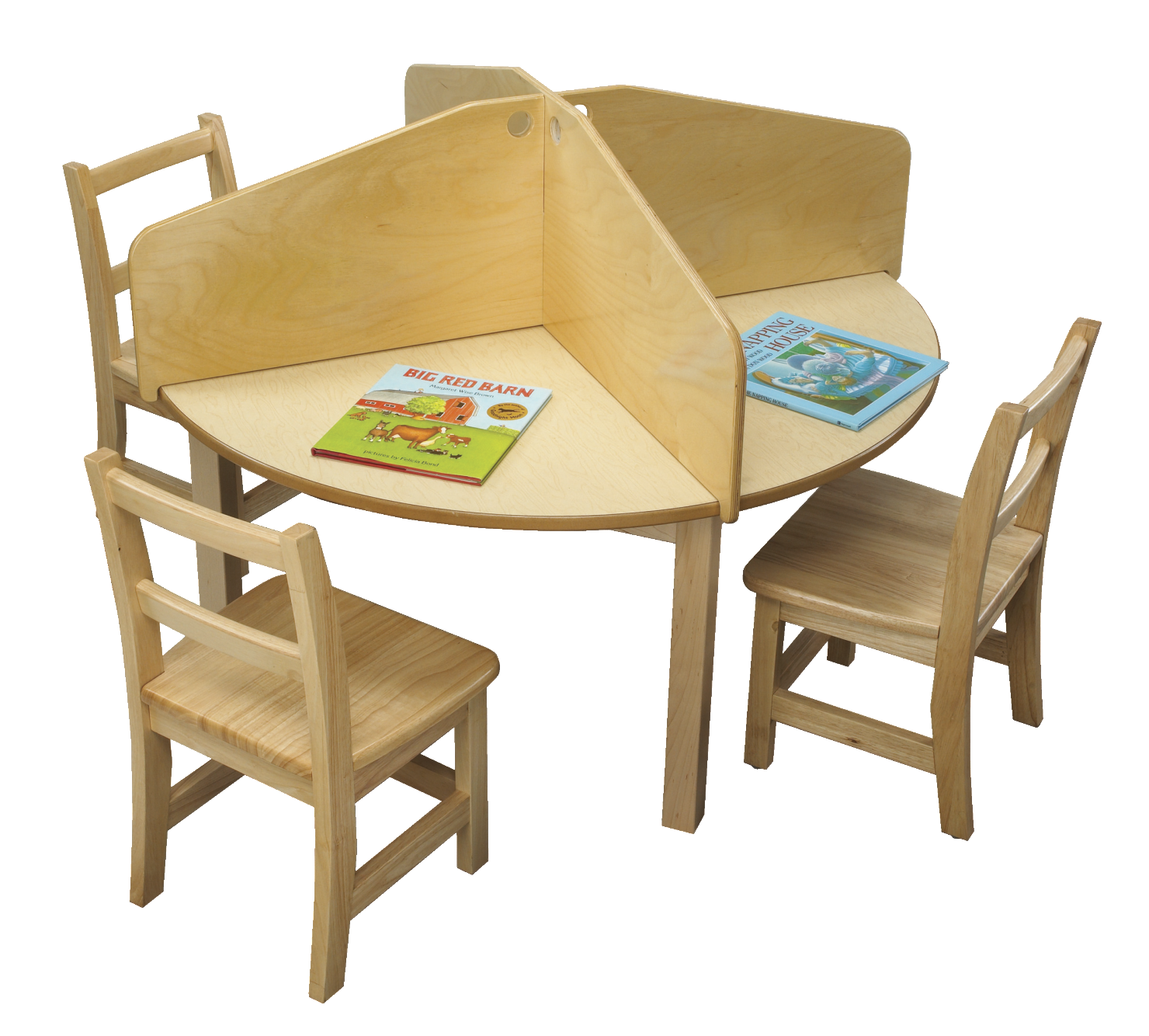 Childcraft 4u2013Student Carrel Divider With Round Table, 42 Round X 28 H In
