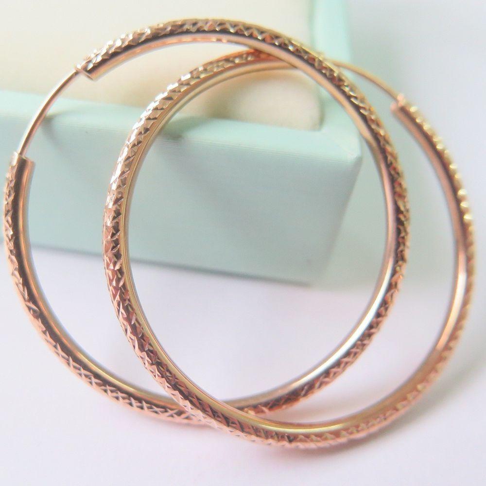 Solid k rose gold hoop earrings faced hoop earrings mm h au