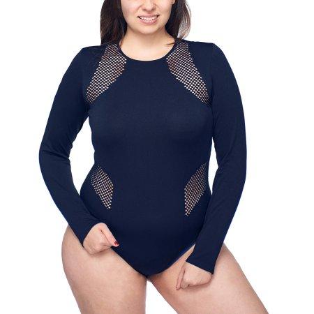 dbb067c0f951 Under Control Women's Plus Active Seamless Scoop Neck Long Sleeve Bodysuit  With Fish Net Detail