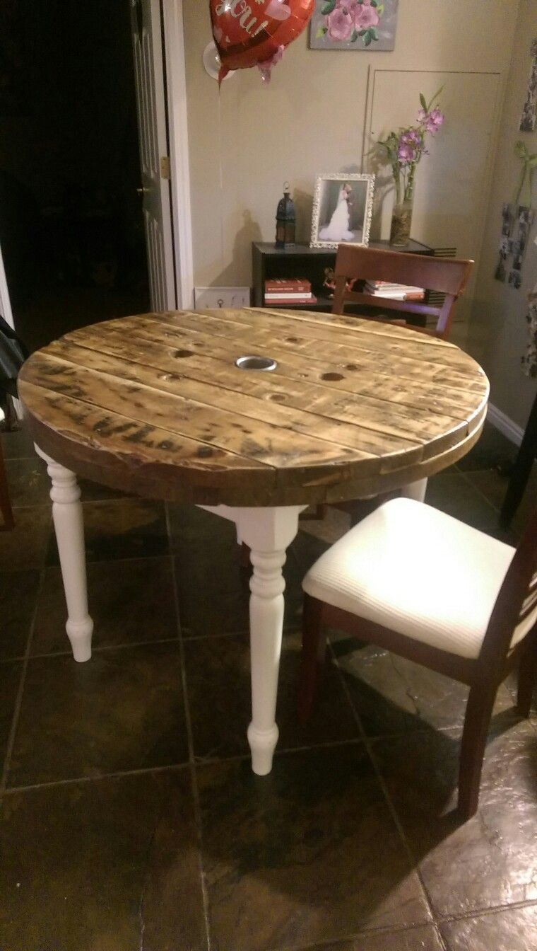 Wooden Spool Table Top Handmade By My Husband Wooden Spool Tables Spool Tables Spool Furniture