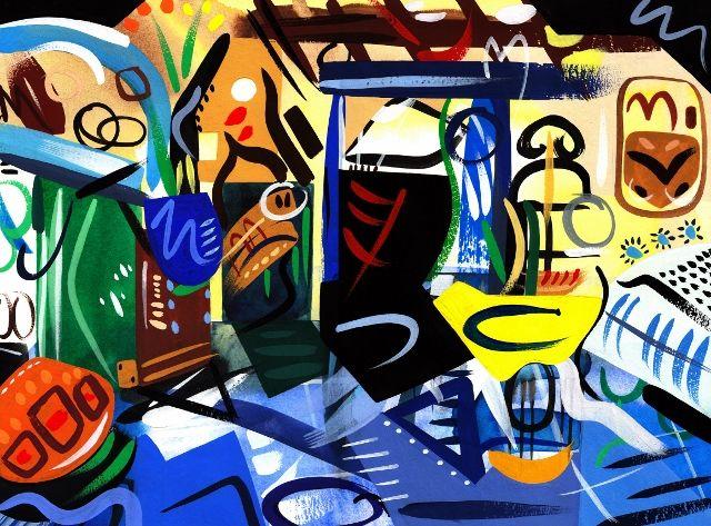 Gouache & Watercolour on Paper 40 x 30 cm Interior, vintage, retro, painting, colour