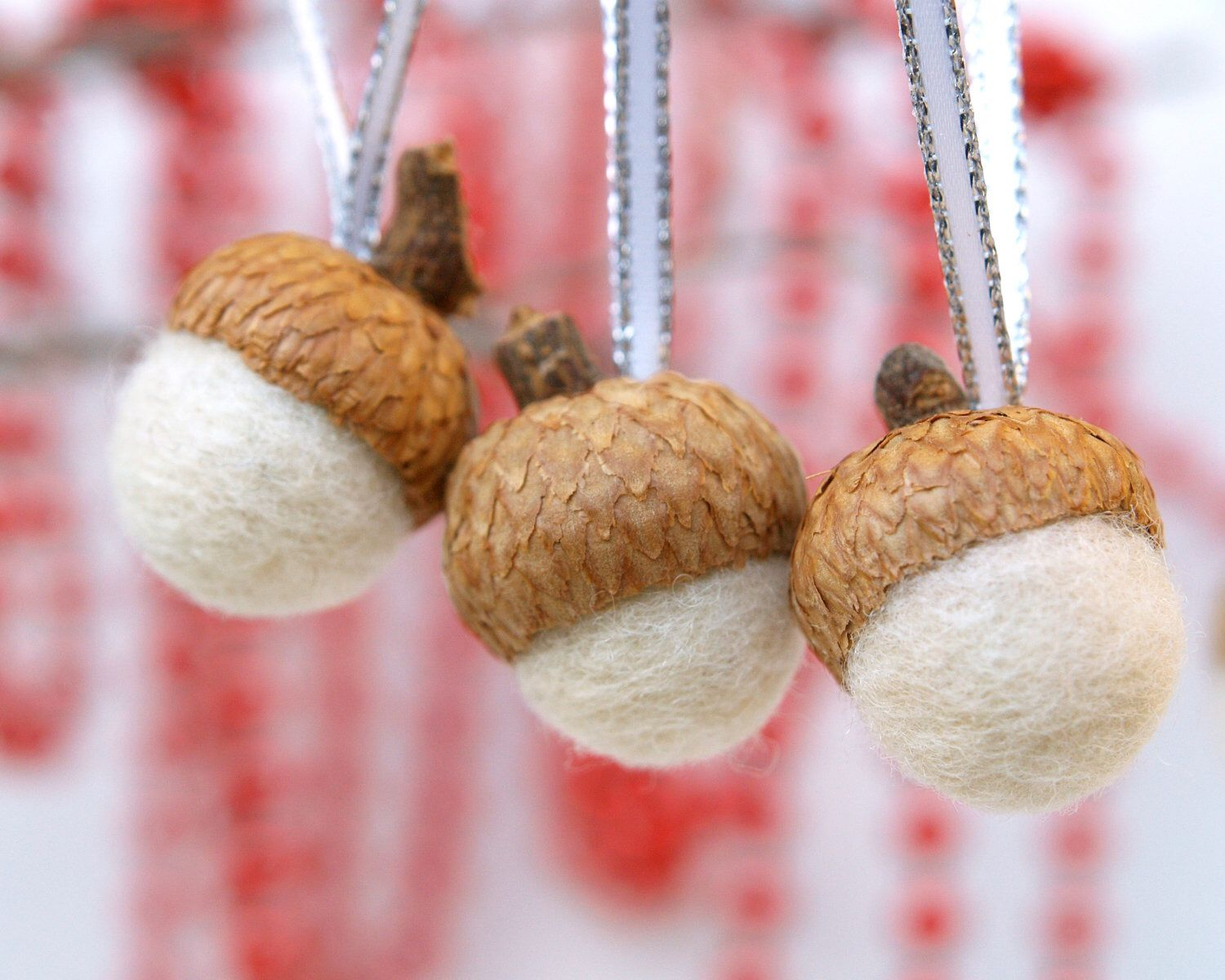 Needle Felted Acorns White Ornaments Wool Decorations, Home Decor ...