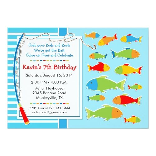 Fishing theme birthday party invitation fish birthday card fishing theme birthday party invitation filmwisefo Images