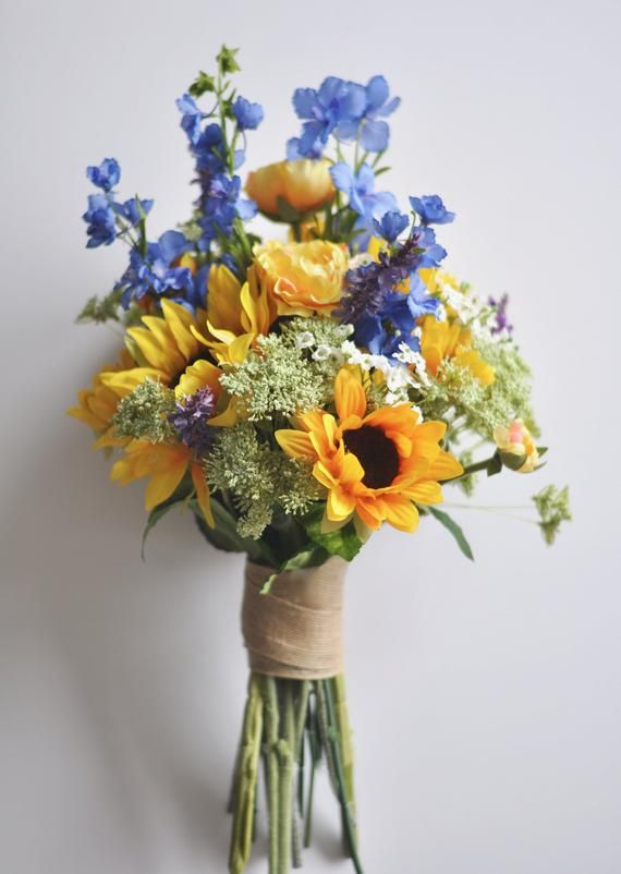Sunflower Wedding Bouquet, Bridal Flowers, Sunflowers, Bridal Bouquet, Wildflower Bouquet, Boho, Sunflower Silk Flower Wedding Bouquet.