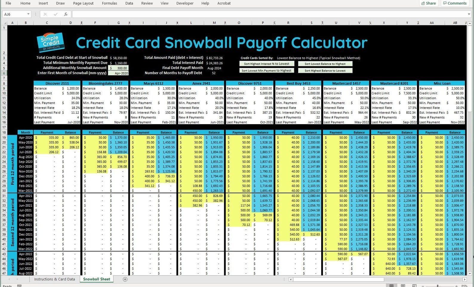 Credit Card Snowball Calculator Worksheet Etsy Credit Card Tracker Credit Card Debt Payoff Plan