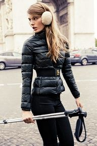Street winter style inspiration for skiing...will wear sorels on way to the slopes
