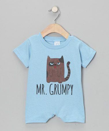 Another great find on #zulily! Light Blue 'Mr. Grumpy' Cat Romper - Infant #zulilyfinds