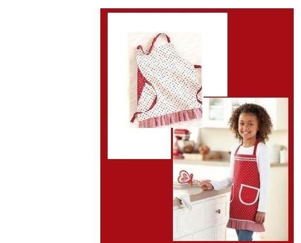 Children's Red Kitchen Apron Reversible Girl's Kitchen Apron ~ CHRISTMAS GIFT #StNicholasSquare #Reversible