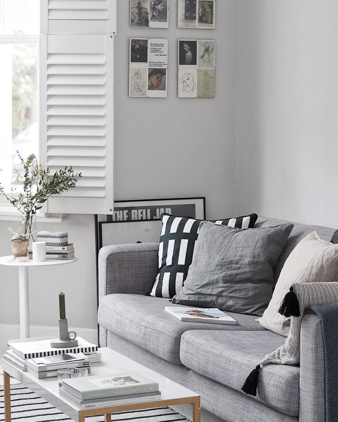 latest sofa designs for living room%0A Light grey living room with grey IKEA sofa and monochrome accessories   minimal design and pared