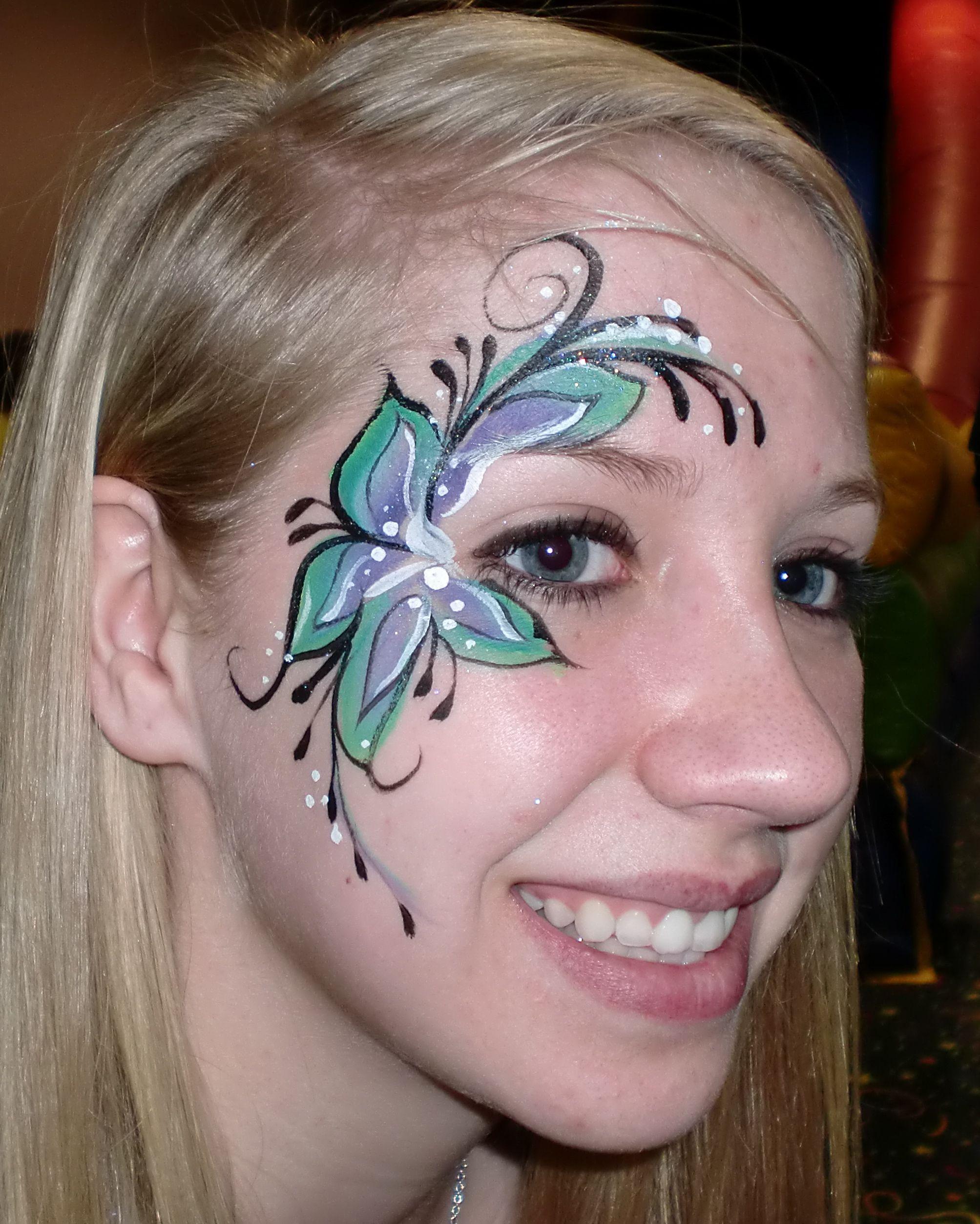 Facepainting Flower Eyedesign 801 554 2364 Princess Party Www Facepaintingillusions Blogspot Com Face Painting Flowers Face Painting Face Painting Easy