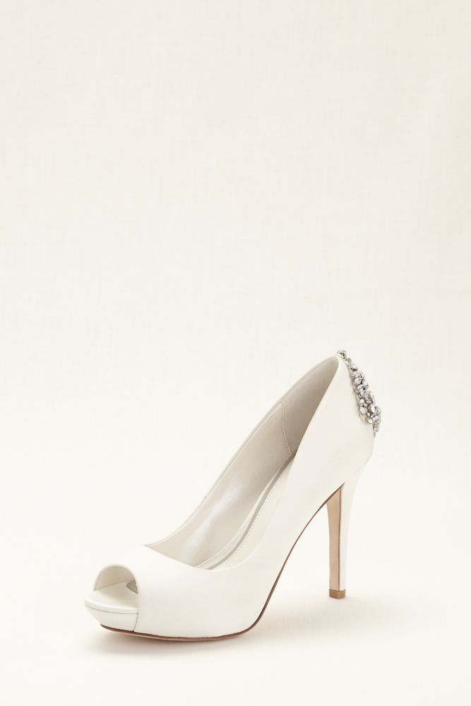 Satin Wedding & Bridesmaid Peep Toe Pump with Jeweled Embellishment - Ivory, 6 Women's