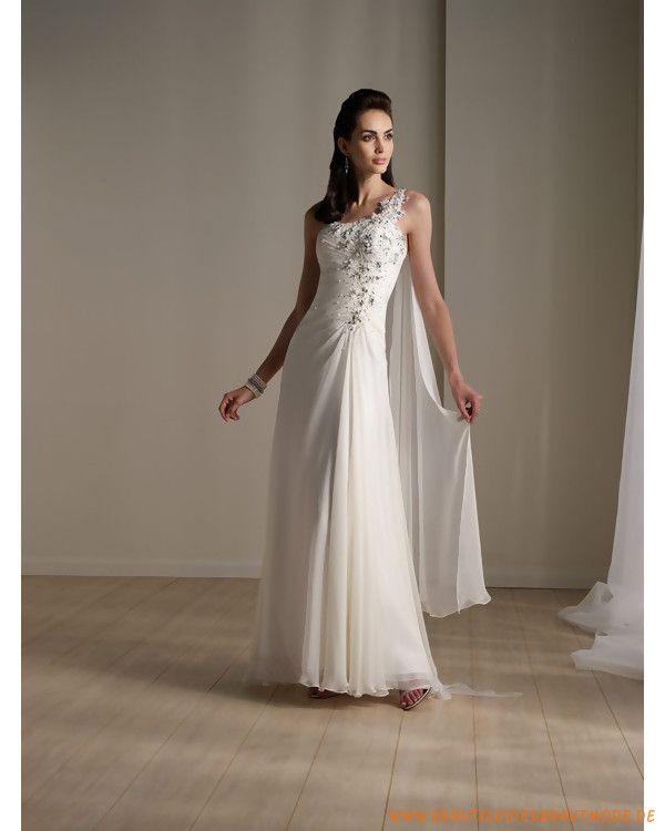 2013 neues Brautkleid aus Chiffon asymmetrischer Schulterträger und geraffter verzierter schmaler Rock