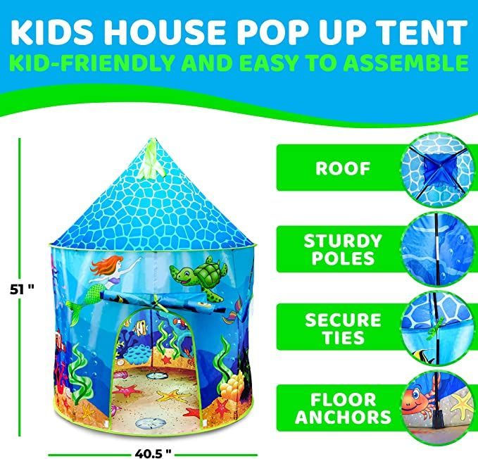 """Give to a mermaid princess or ocean-loving kids to have their own Atlantis playhouse. Perfect for playing games, reading and quiet time with a roomy interior that can accommodate up to 3 kids. Includes Under the Sea Play Tent 51"""" H x 40.5"""" D, 4 Tent Poles, Kaleidoscope Toy and Easy-Carry Tote. #castletent #princesstent #kidstentsindoor"""