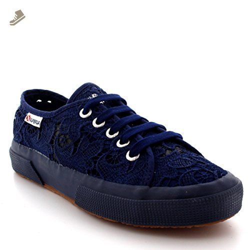 Womens Superga 2750 Macrame Lace Low Top Casual Summer Fashion Sneakers -  Navy - 7.5 -