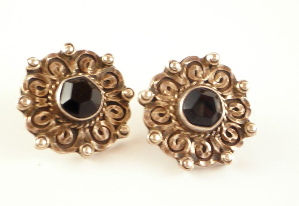 Vintage Sterling Silver Black Onyx Earrings 925 Mexico Handcrafted Signed  #Handmade #Stud