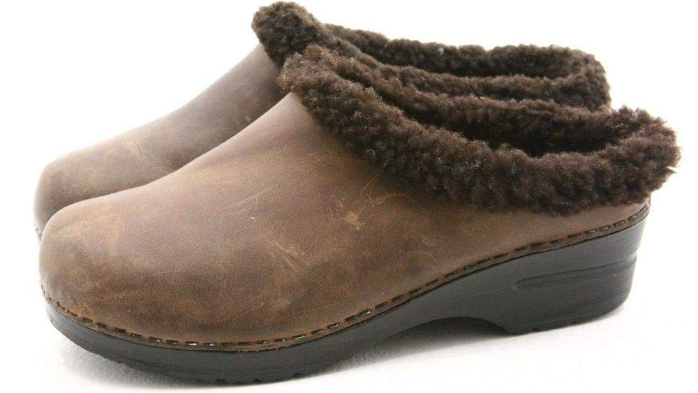 Dansko 40 womens dress shoes Size 9.5 10 fur collar stapled clogs mule EXCELLENT #Dansko #Clogs @ebay