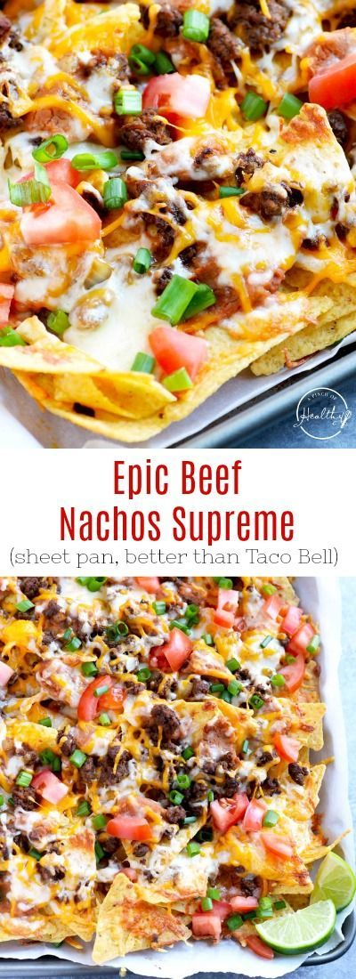 Beef Nachos Supreme You need to make this epic beef nachos supreme at your next game day. Seasoned ground beef, refried beans, cheese, tomatoes and green onions. You need to make this epic beef nachos supreme at your next game day. Seasoned ground beef, refried beans, cheese, tomatoes and green onions.