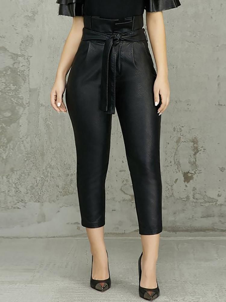 8a07e6ee3 Calças de cintura alta com cinto de babados   moda feminina in 2019 ...