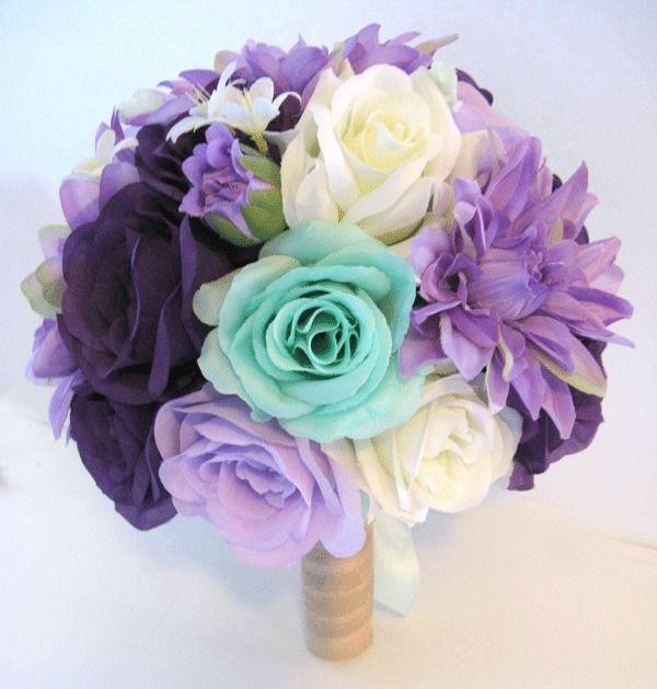 17 pc Wedding Bouquet Bridal Silk flowers PURPLE LAVENDER DARK MINT CREAM Brides