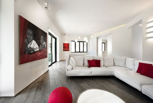 salon minimalista rojo y blanco