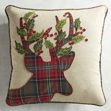 Plaid Tidings Reindeer Pillow