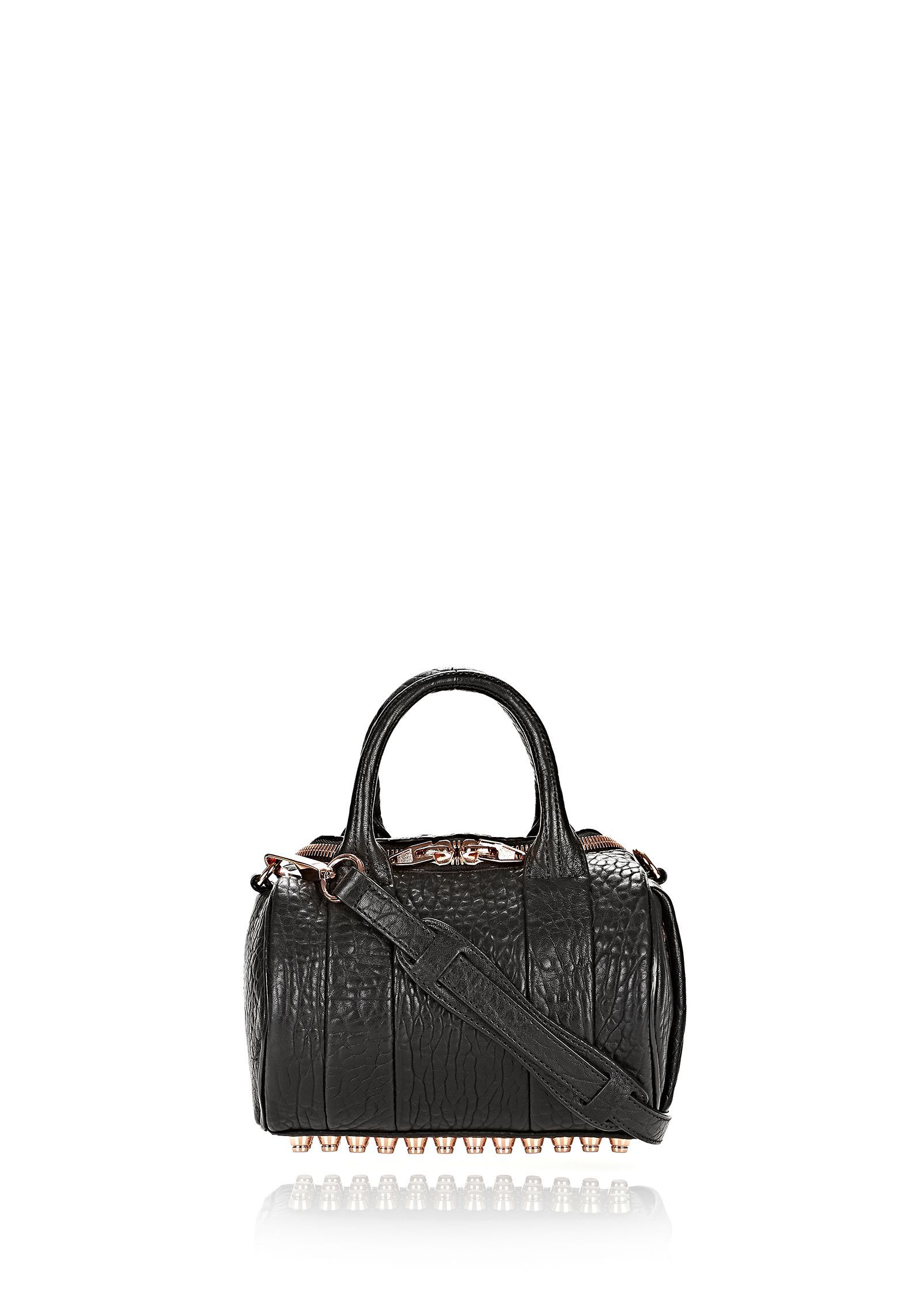 MINI ROCKIE IN PEBBLED BLACK WITH ROSE GOLD | Shoulder Bags | Alexander Wang Official Site