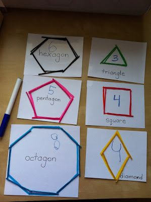 Shape activities: Use craft sticks to make shapes and then explain attributes.