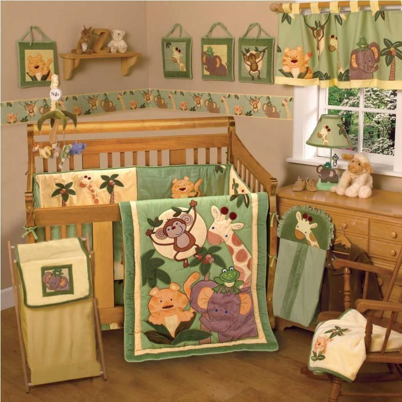 Green Jungle Safari Neutral 8pc Baby Crib Bedding Set For Boy Or Girl Nursery In Baby Nursery Bedding Crib Bedding Boy Animal Baby Bedding Safari Baby Bedding