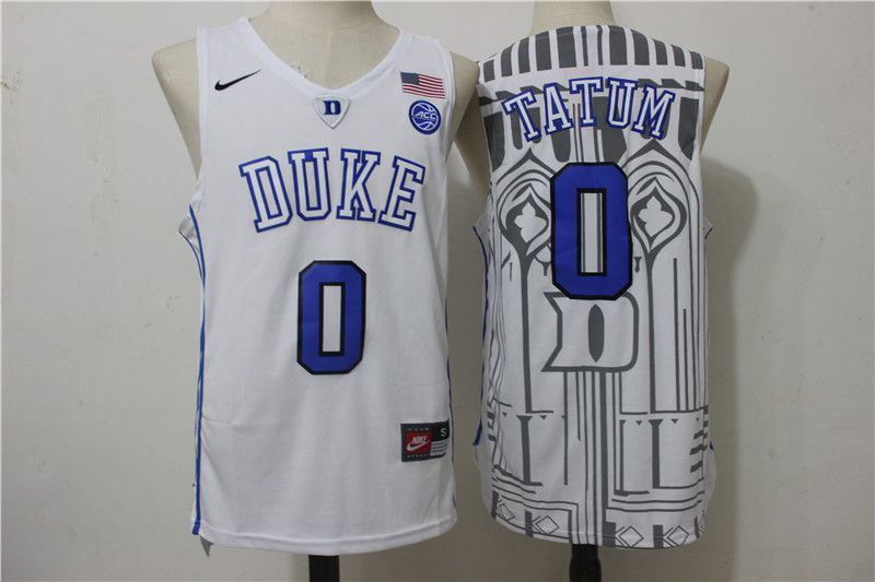 Duke Blue Devils 0 Jayson Tatum White College Basketball Jersey ... b67c888e9