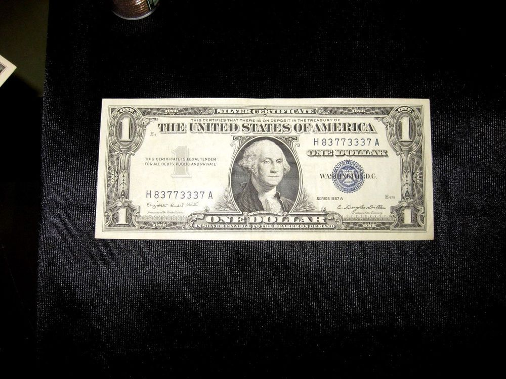 1957b One Dollar Bill Silver Certificates Blue Seal W36503961a