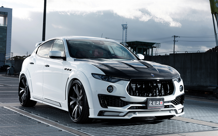 Download wallpapers maserati levante white luxury suv tuning levante carbon front hood black - Maserati levante wallpaper ...