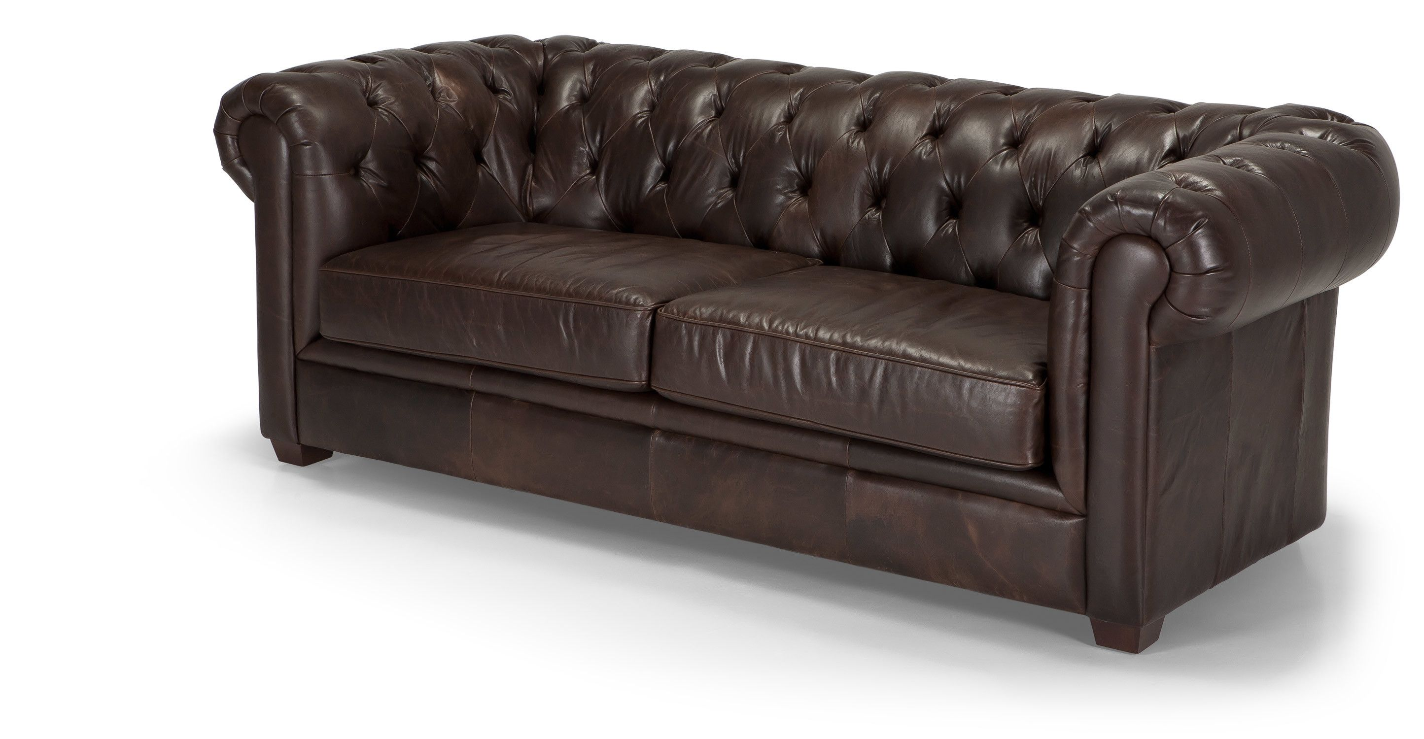 Mayson Canape 3 Places Chesterfield Cuir Brun De Qualite Superieure Canape 3 Places Chesterfield Cuir Brun