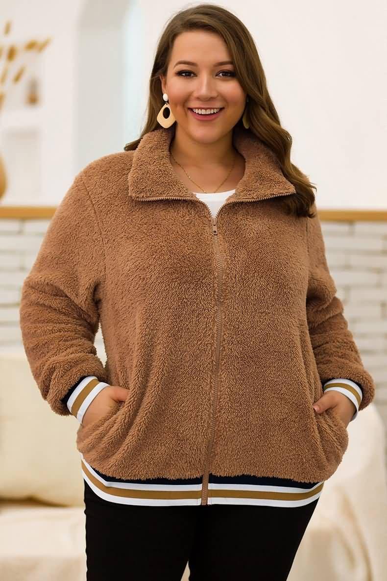 Brown Casual Zipper Up Pocket Faux Fur Plus Size Sweatshirt 3