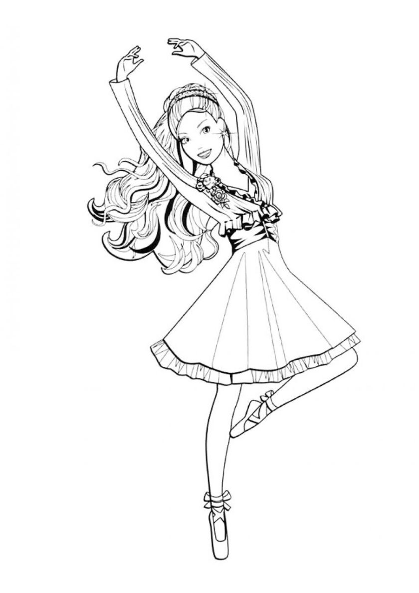 Barbie Ballerina High Quality Free Coloring From The Category Barbie More Printable Pictures On Coloring Pages For Girls Coloring Pages Rose Coloring Pages