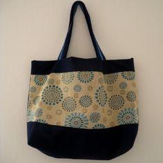 Cabas en coton bleu motif mandala