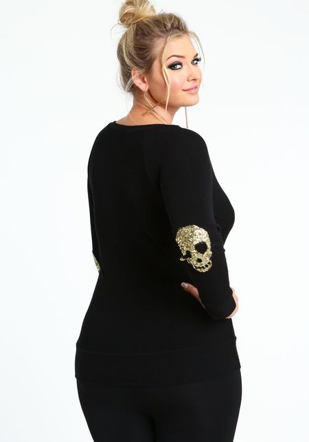 Plus Size Sequin Skull Elbow Patch Sweater Top ...