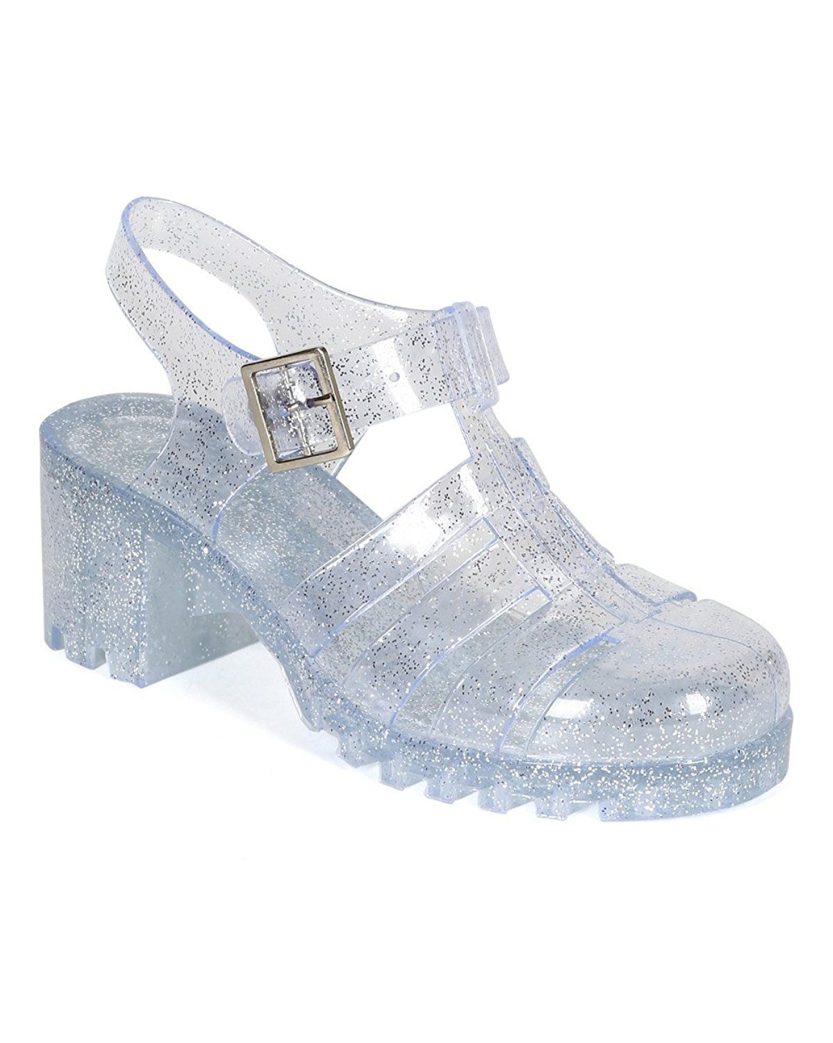 a0b9226fa831 Nature Breeze CK93 Women Glitter Jelly Round Toe Strappy Caged Gladiator  Chunky Heel Sandal - Clear    Don t get left behind