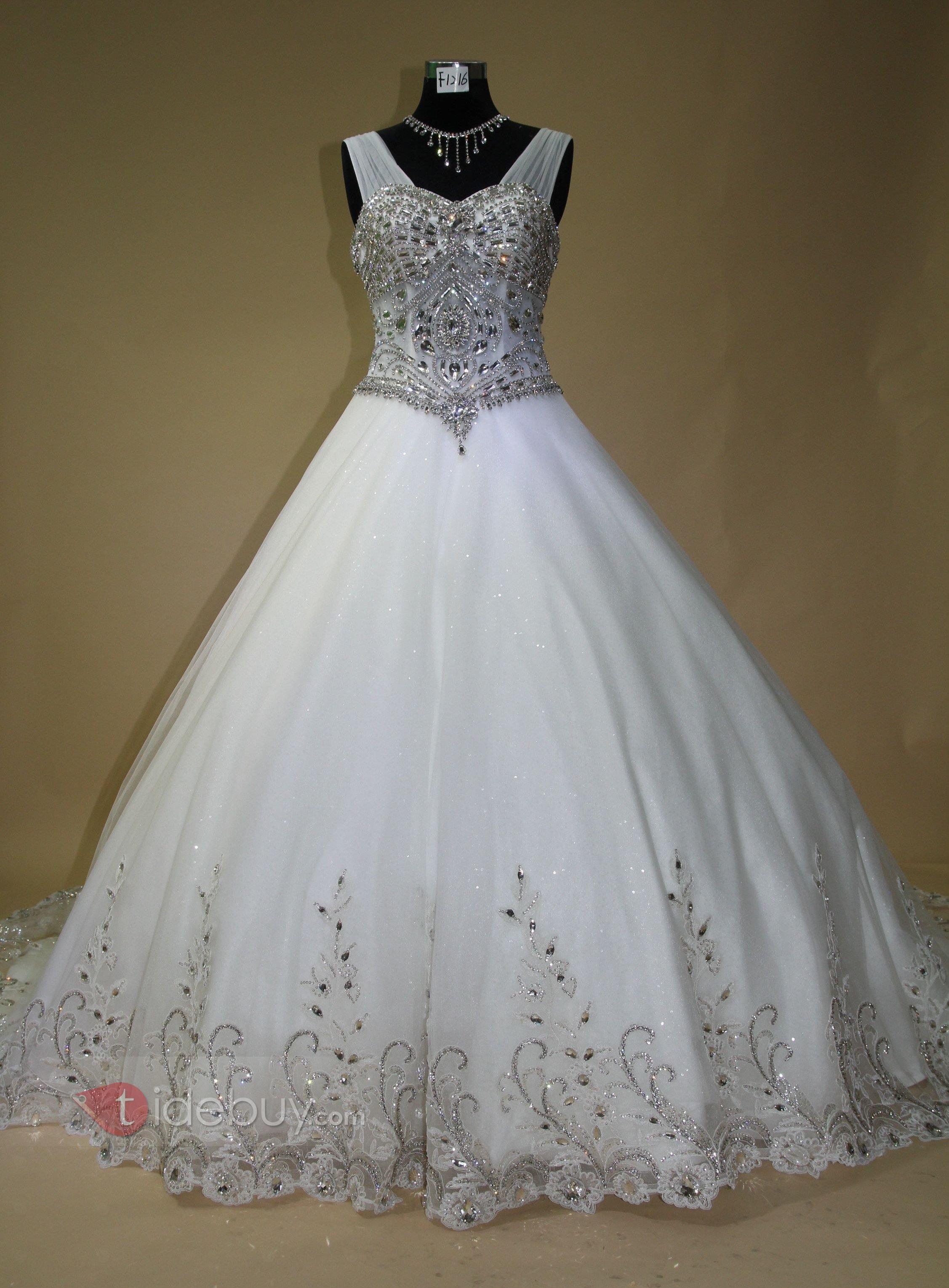 South asian wedding dresses  ストラップスイートハートラインストーンボールガウンウエデイングドレス