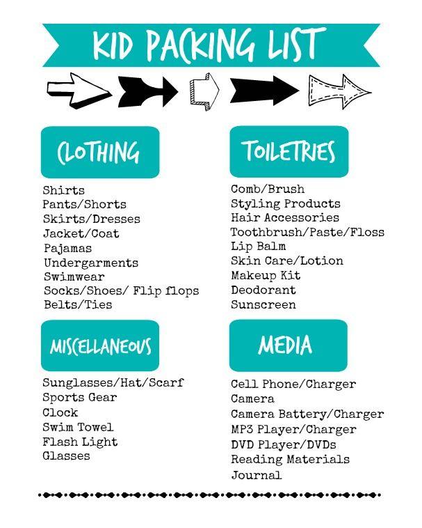 Kid Packing List \u2013 Printable (Organize and Decorate Everything - Vacation Packing List Printable