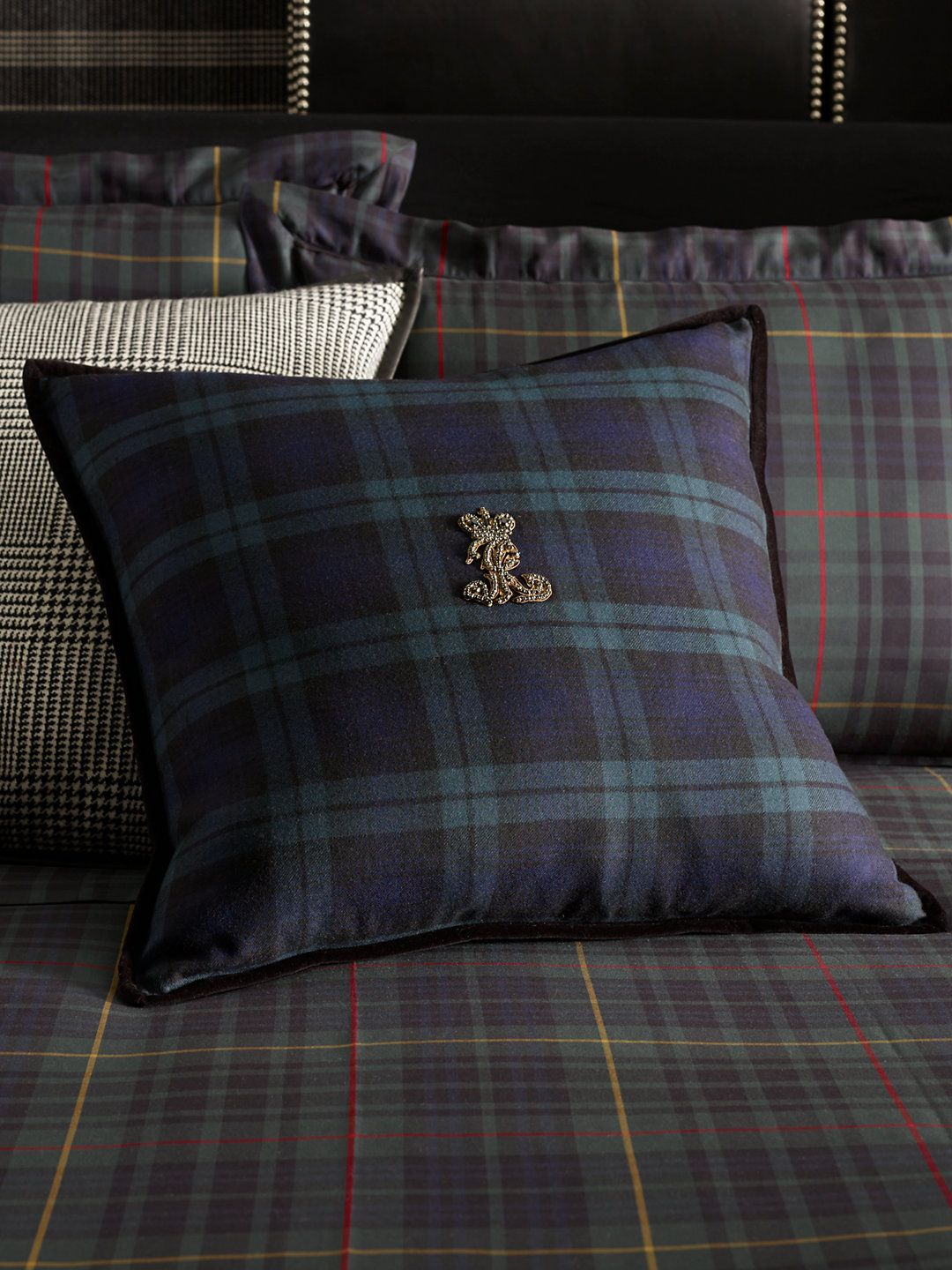 Essex Black Watch Throw Pillow   Love the Houndstooth too! Ralph