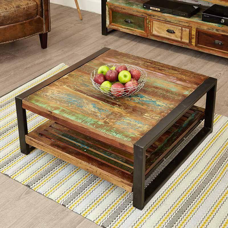 Urban Chic Reclaimed Wood Square Coffee Table Baumhaus E Shape 3