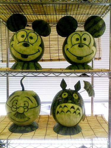 Totoro watermelon!  This page has a list of some AMAZING watermelon carvings: http://www.buzzfeed.com/rebeccae/75-awesome-watermelon-carvings