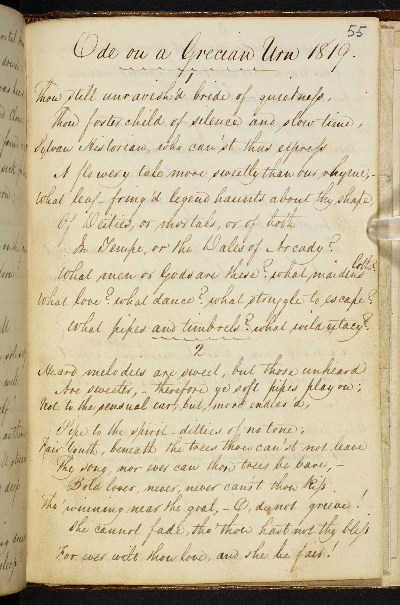 keats has immaculate handwriting although it does say probably  ode on a grecian urn copy made in a notebook probably in the hand of the poet s brother george keats