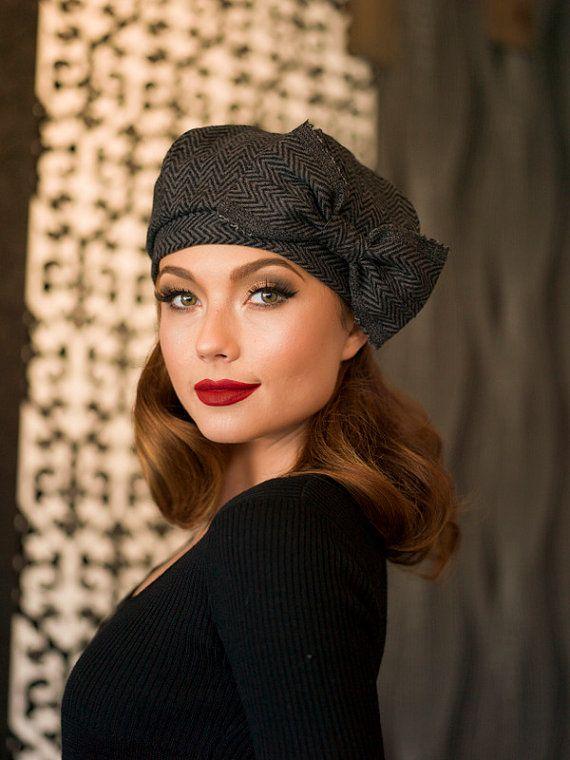 52872405 Beret Hat Bow, Grey & Black Chevron Striped Wool Beret, French Beret,  Winter…