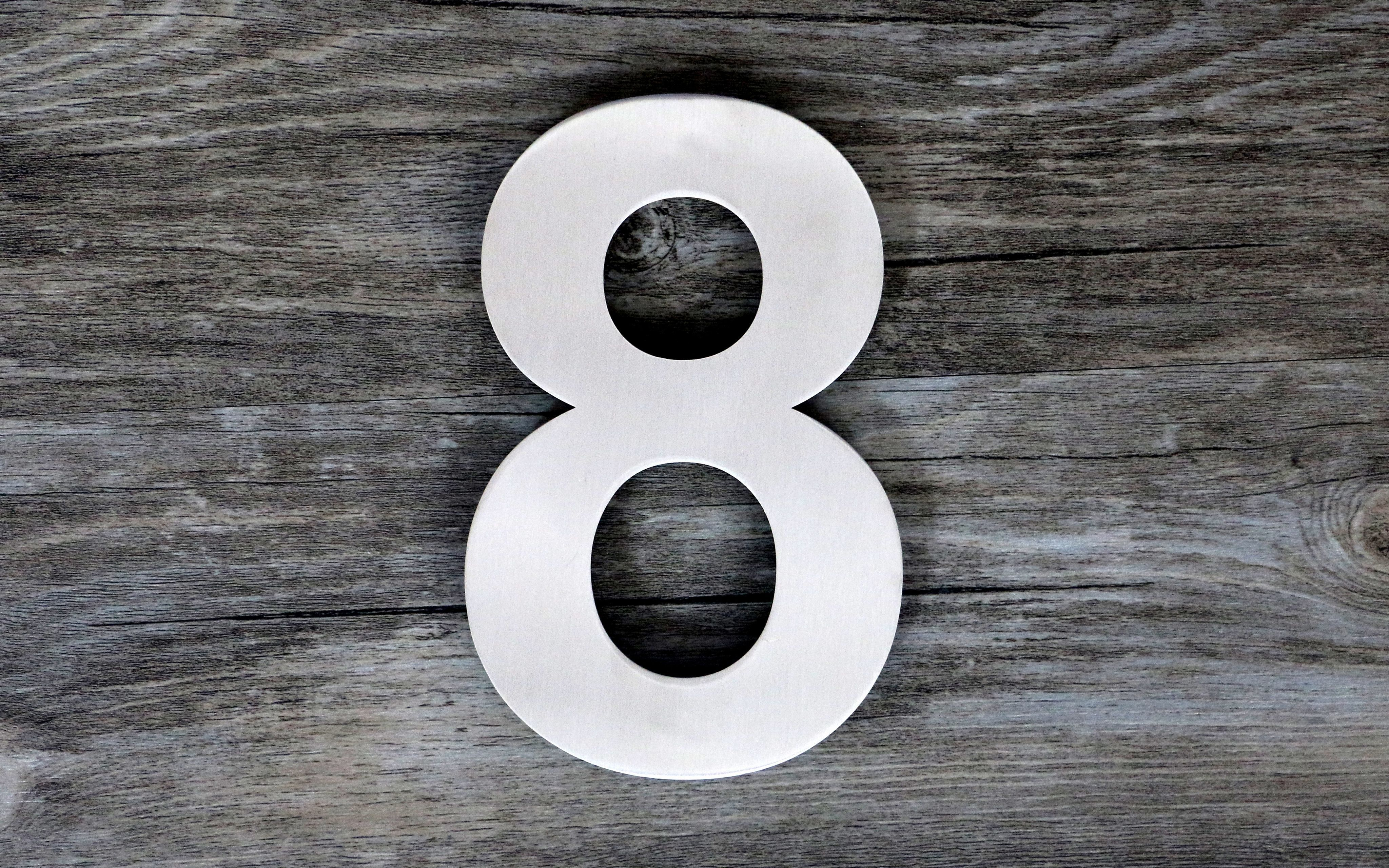 Modern floating steel house number super large 12 inch number 8 eight brushed solid 304 stainless steel floating appearance easy to install