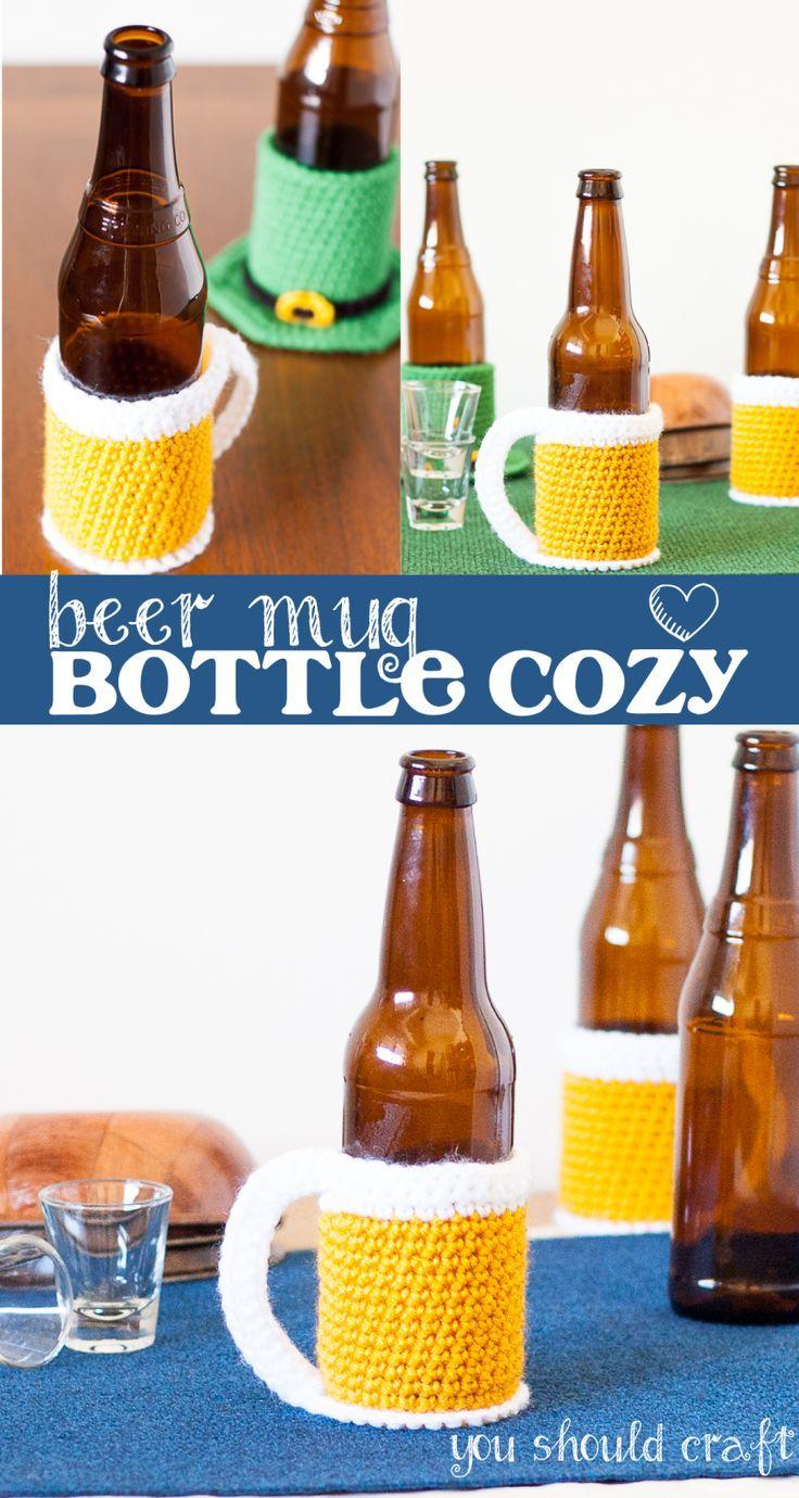 Beer Mug Bottle Cozy - Free Crochet Pattern | Pinterest | Häckeln ...