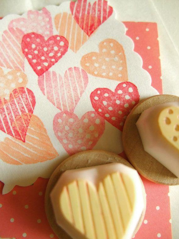 Liebe Herz Stempel | Polka Dot & Streifen Liebe Herz | Hand geschnitzte Briefmarken für diy Valentine, Kartenherstellung, Kunsttagebuch, Geschenkverpackung