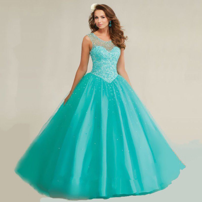Crystal Beaded Royal Blue Hot Pink Turquoise Quinceanera Dresses ...