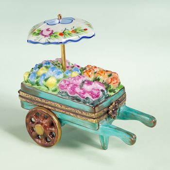Limoges blue flower cart with umbrella box