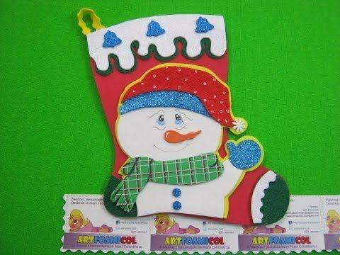 como hacer bota navidea mueco de nieve en foamy o gomaeva con moldes o patrones